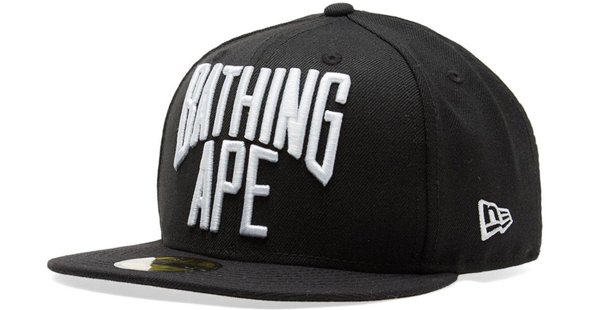 5a8d9c6f ... closeout lyst a bathing ape new era nyc logo cap in black for men 8d226  51aa5
