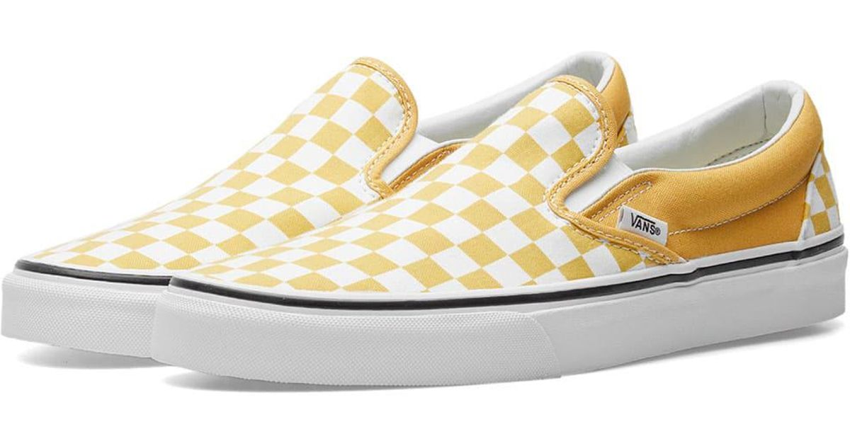 f2d0a9591 Vans Classic Slip On Checkerboard in Yellow for Men - Lyst