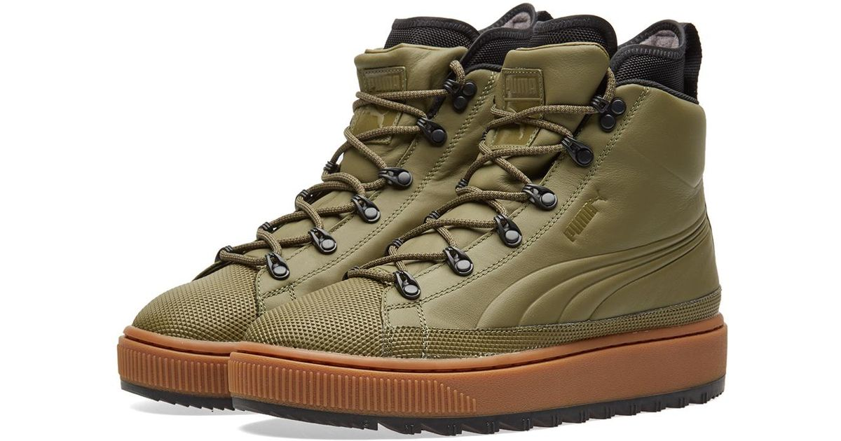 1cb37c77180f65 PUMA The Ren Leather Sneaker Boots in Green for Men - Lyst