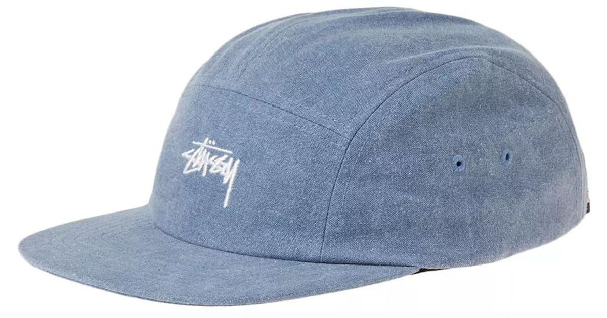3e59c643672 Lyst - Stussy Washed Oxford Canvas Camp Cap in Blue for Men