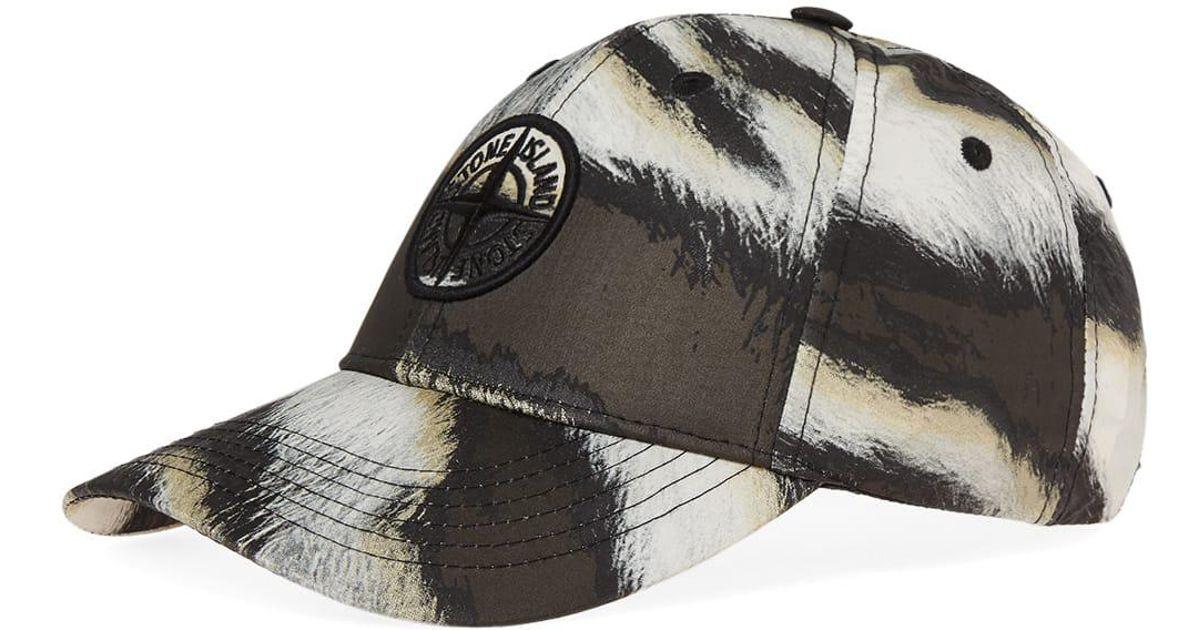 ca4cb81b68f Stone Island Tiger Camo Baseball Nylon Cap in Black for Men - Lyst