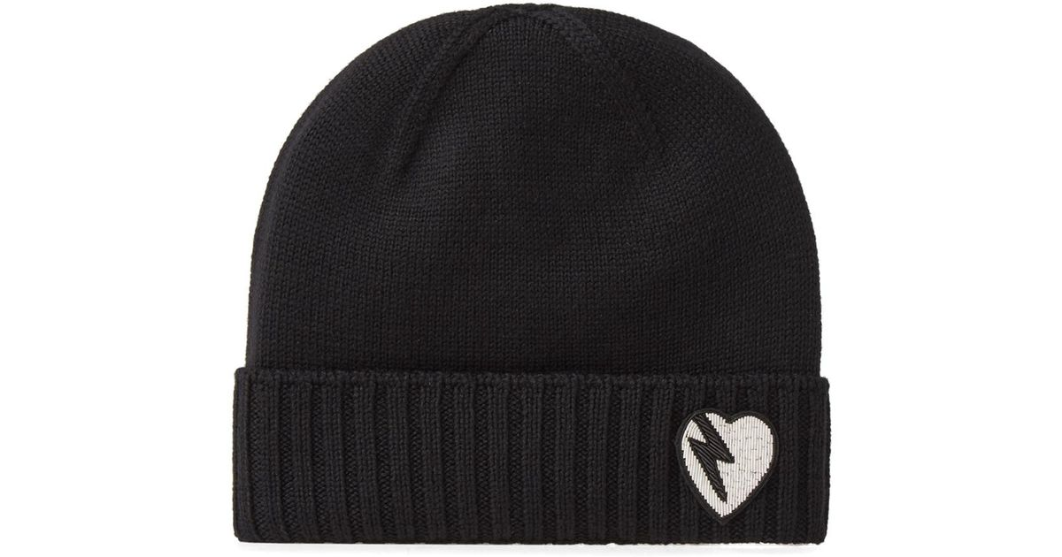 Lyst - Saint Laurent Heart Knit Beanie in Black for Men b4f03b435f2