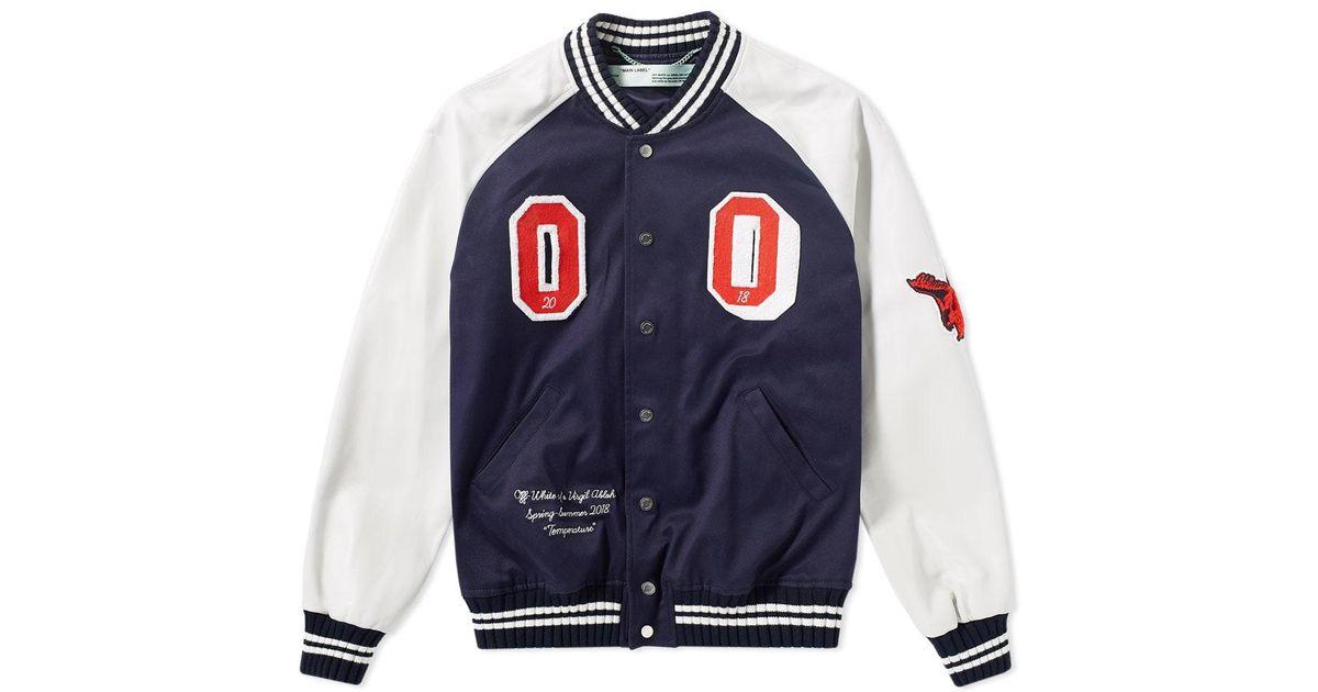09e432b54fc8 Lyst - Off-White c o Virgil Abloh Patch Varsity Jacket in Blue for Men