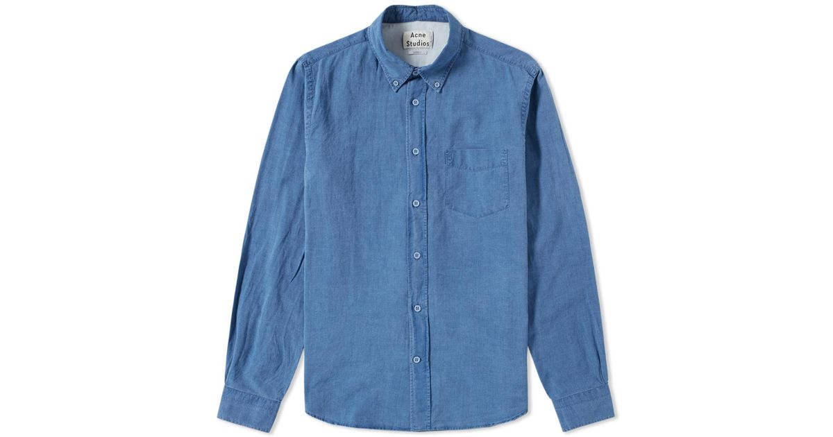 8ab71930fe Acne Studios Isherwood Indigo Shirt in Blue for Men - Lyst