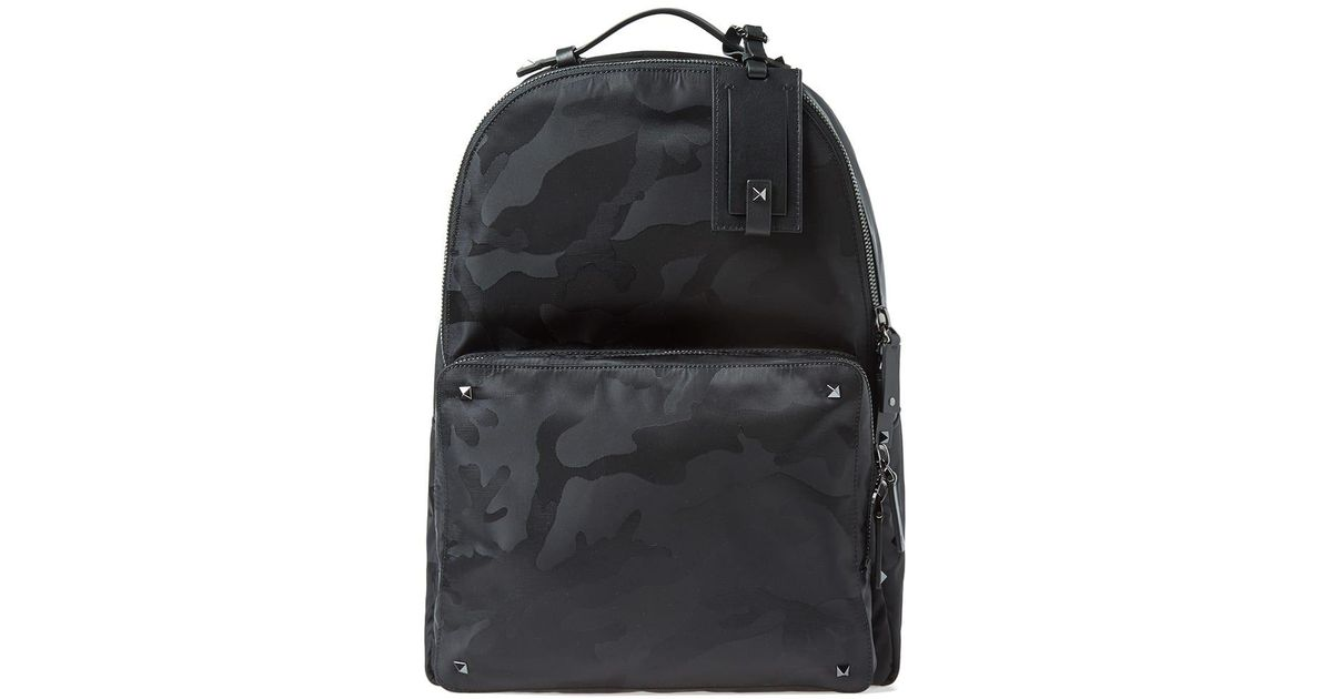 c91d70ab09 Lyst - Valentino Nylon Jacquard Camo Backpack in Black for Men