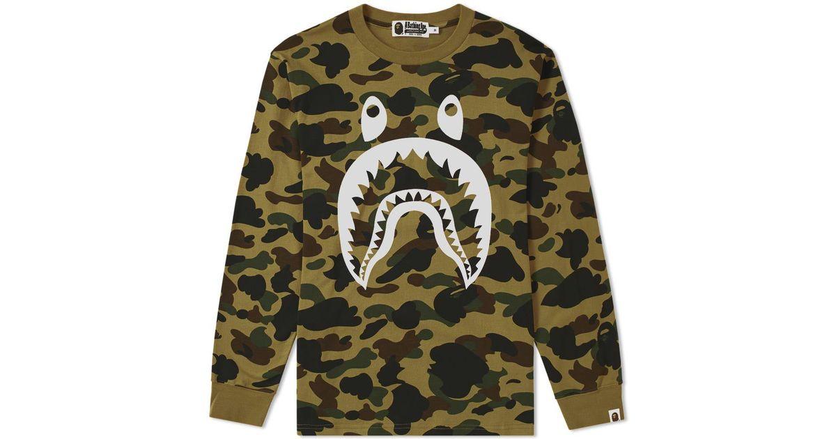 febaed81d A Bathing Ape Long Sleeve 1st Camo Shark Tee in Green for Men - Lyst