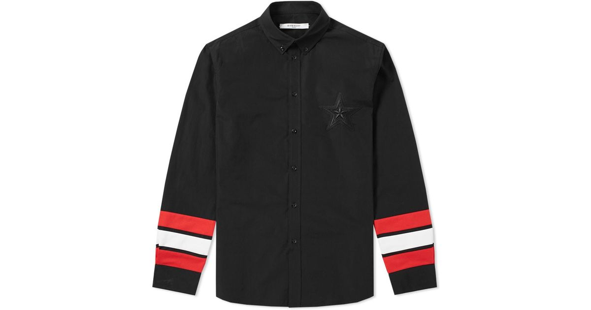 Lyst givenchy regular star embroidered tape sleeve shirt for Givenchy 5 star shirt