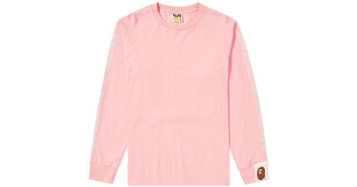 69d3b61b A Bathing Ape Long Sleeve Bape Tee in Pink for Men - Lyst