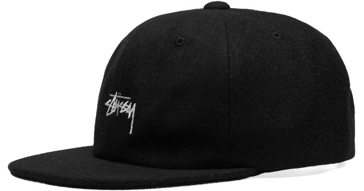 baf7c665 Lyst - Stussy Melton Wool Strapback Cap in Black for Men
