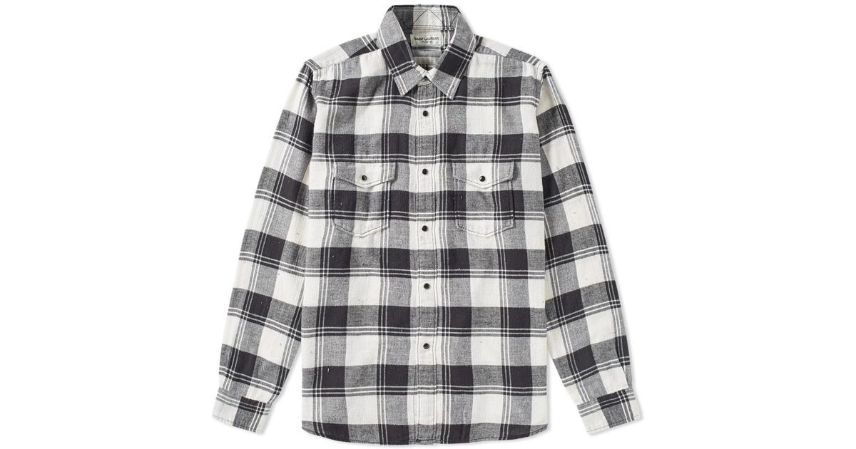 Lyst saint laurent flannel check shirt in black for men for Saint laurent check shirt