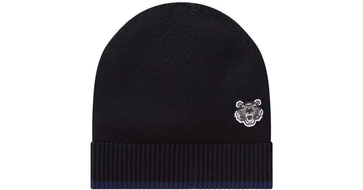 Lyst - KENZO Men s Tiger Crest Wool Beanie Hat in Black for Men 70a3980af64