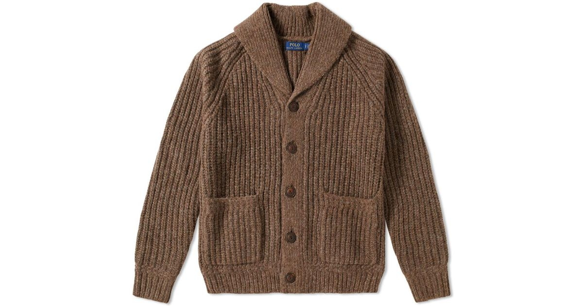 daa1ef0cc74 ... discount code for lyst polo ralph lauren shawl alpaca cardigan in brown  for men 702c7 d5778