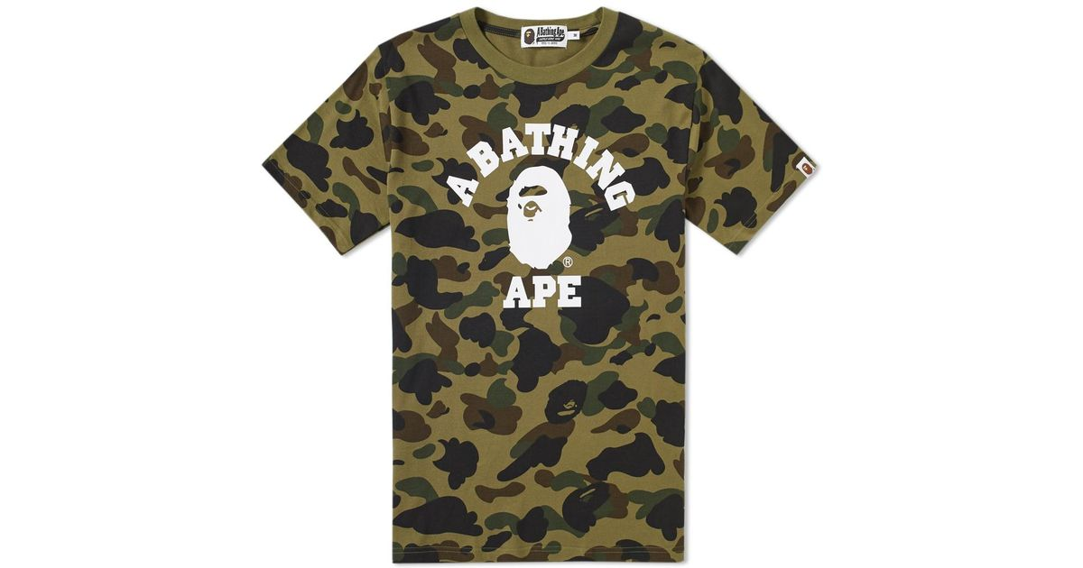 8d33776c4c2c Lyst - A Bathing Ape 1st Camo College Tee in Green for Men