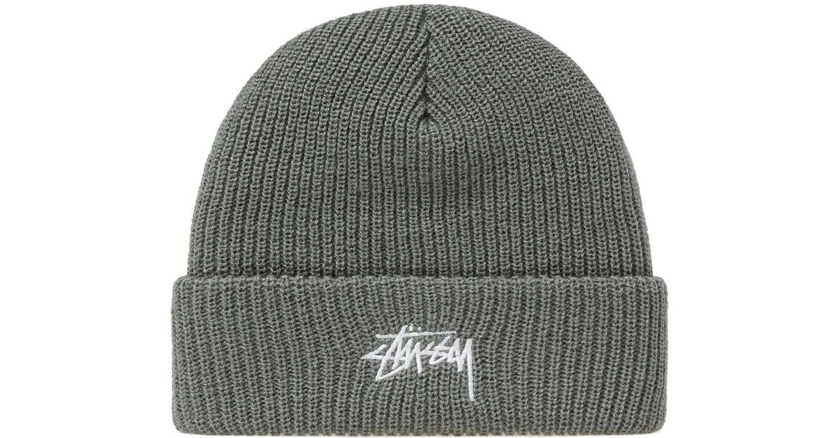 24fc930c05d Stussy Stock Ho17 Cuff Beanie in Green for Men - Lyst