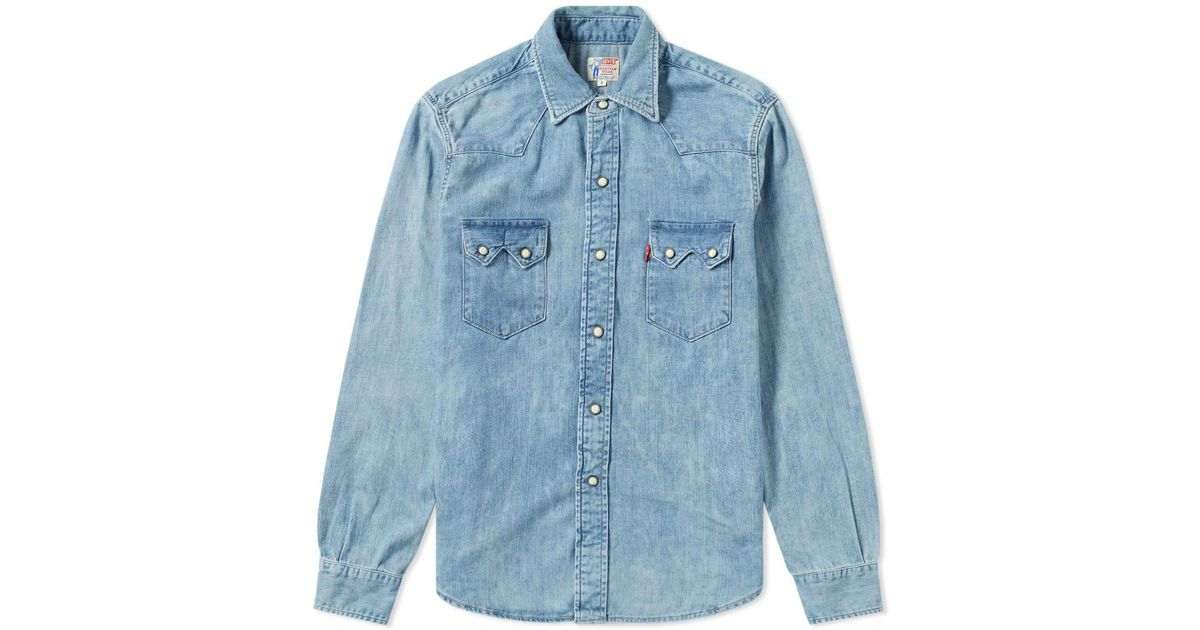 b7c9aa2964 Lyst - Levi s Levi s Vintage Clothing 1955 Sawtooth Shirt in Blue for Men
