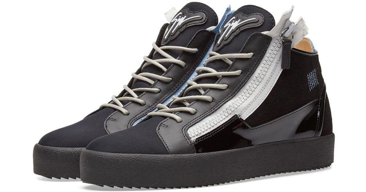 82f99e4ccf2 Lyst - Giuseppe Zanotti Double Zip Deconstructed Mid Sneaker in Black for  Men
