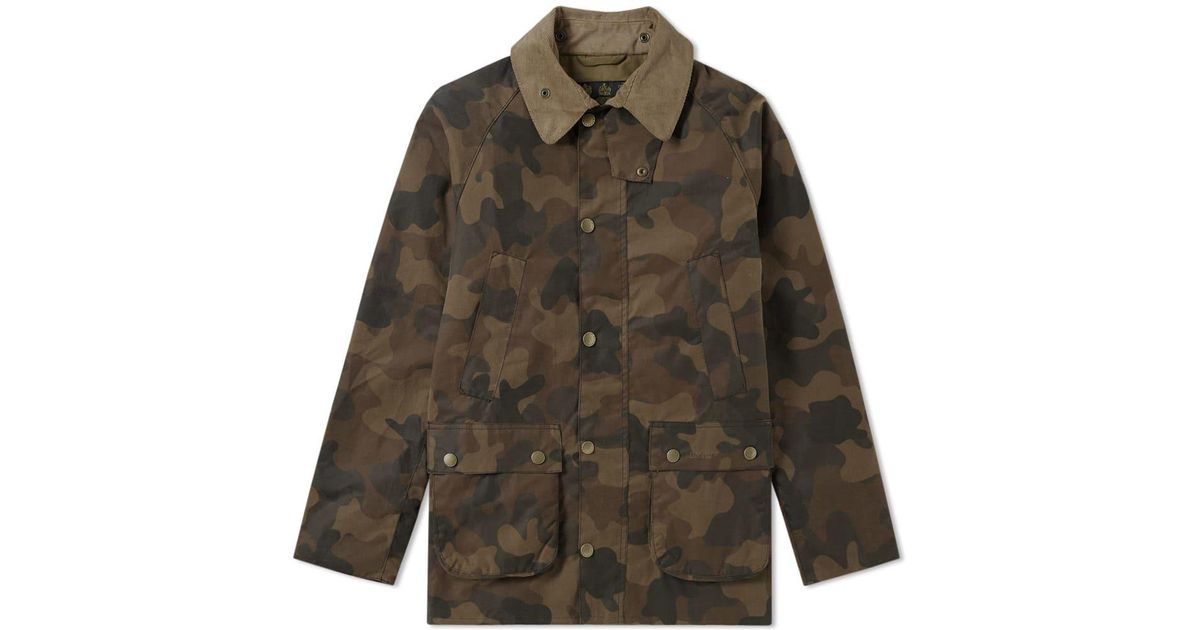 b5002b6cf6650 Barbour Heritage Waxed Camo Sl Bedale Jacket in Green for Men - Lyst
