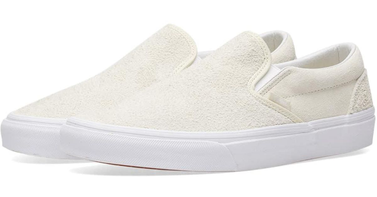 c5c972a9eb Vans - White Classic Slip On Hairy Suede for Men - Lyst. View fullscreen