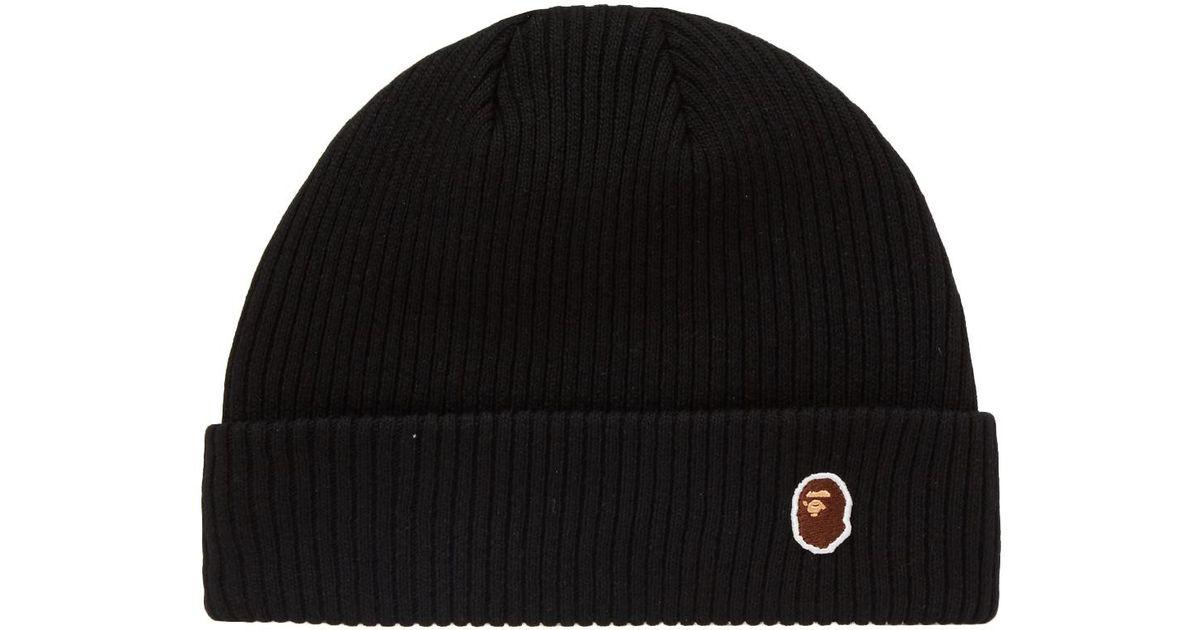 56d2f7a90d3 A Bathing Ape Ape Head One Point Knit Cap in Black for Men - Lyst