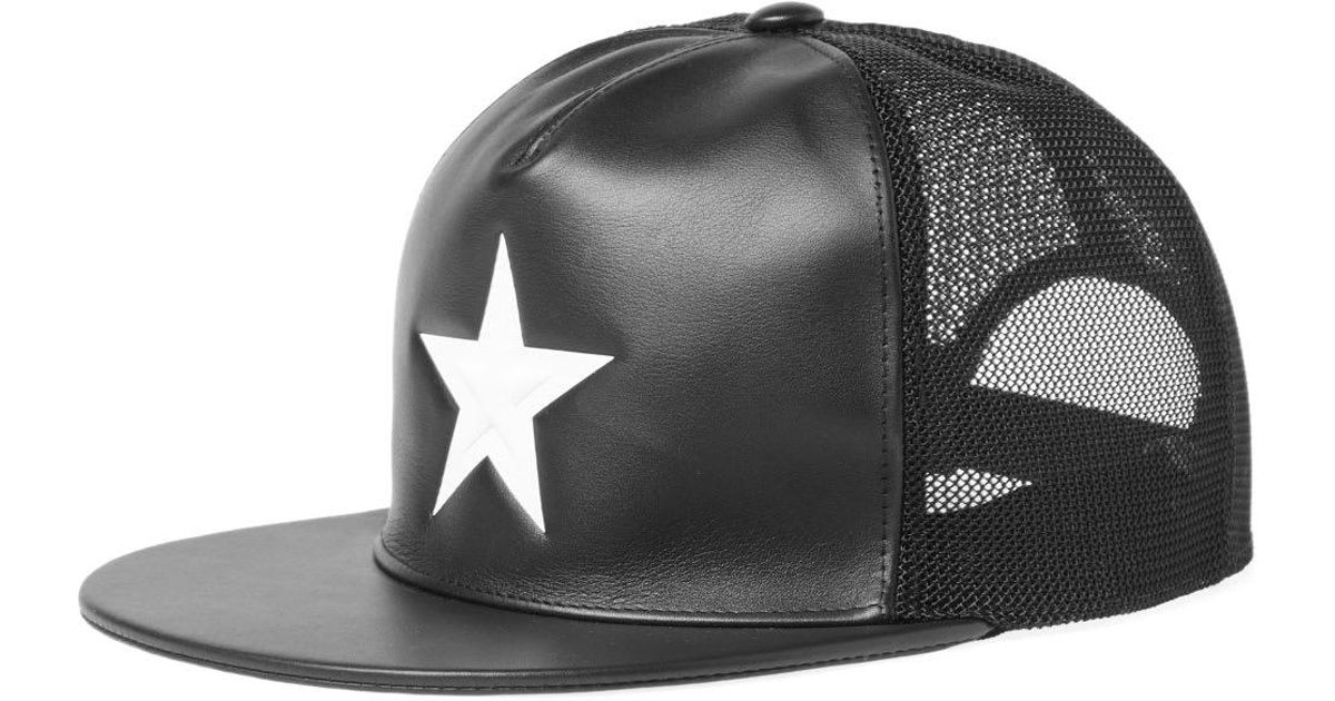 Lyst - Givenchy White Star Leather Cap in Black for Men 43cd62665da