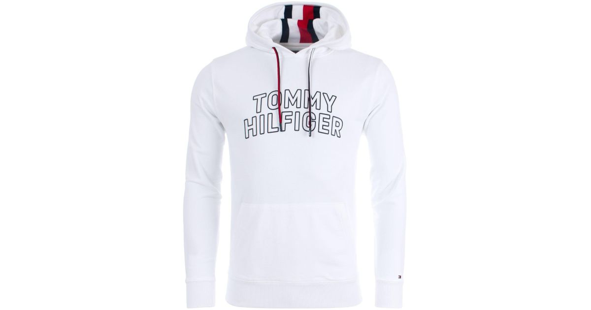 c2d2ac35b Tommy Hilfiger Chest Logo Hoodie in White for Men - Lyst