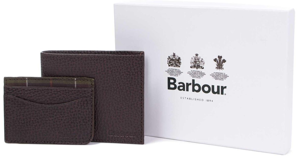 90000879 Barbour Leather Wallet And Card Holder Gift Set in Brown for Men - Lyst