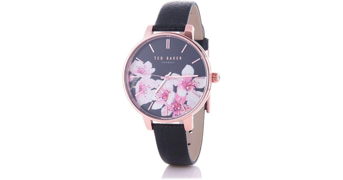 6f8b3a5e3 Ted Baker Kate Soft Blossom Dial Watch In Black in Black - Lyst