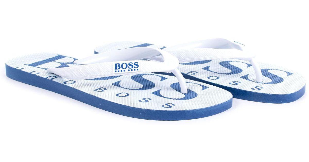 af6c7b536ea17 Boss Athleisure Contrasting Logo Wave Flip-flops in White - Lyst