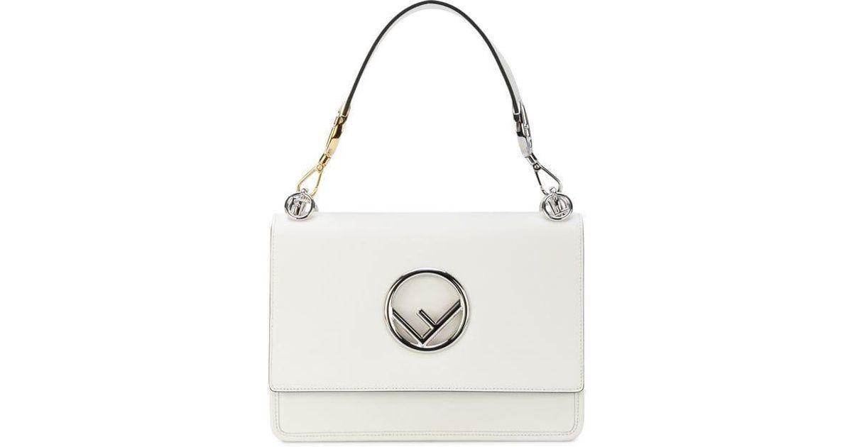 Lyst - Fendi White Leather Kan I F Handbag in White
