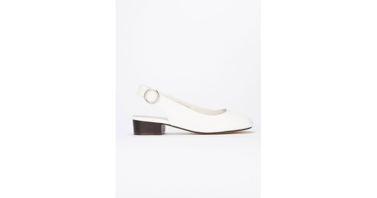 b869a0c3ceb Evans Extra Wide Fit White Square Toe Slingback Shoes in White - Lyst