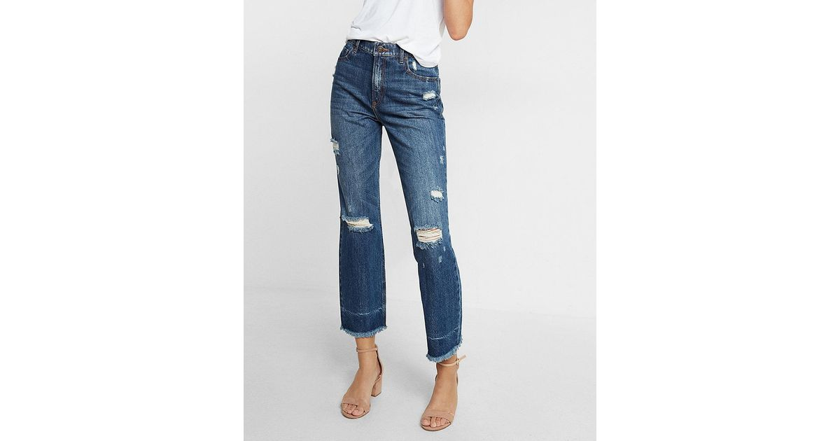 Lyst express high waisted distressed vintage ankle jeans for Express wash roma