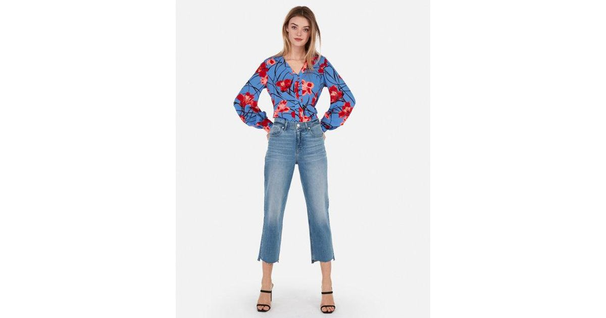 d8d3aa4ce3 Lyst - Express Button From Blouson Sleeve Chelsea Popover in Blue