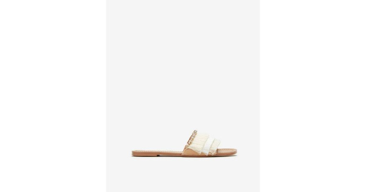 34db379920e Lyst - Express Ombre Fringe Slide Sandals in Natural