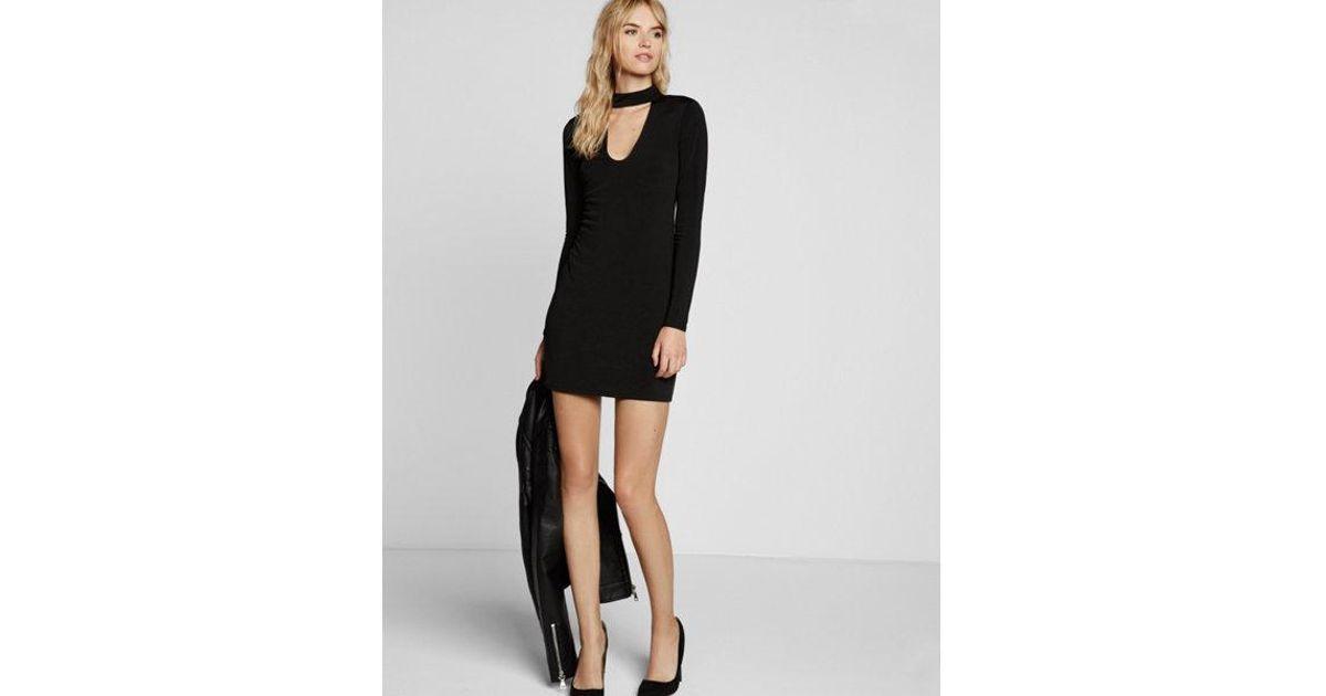 722c22ff Express Cut-out Long Sleeve Mini Choker Dress in Black - Lyst