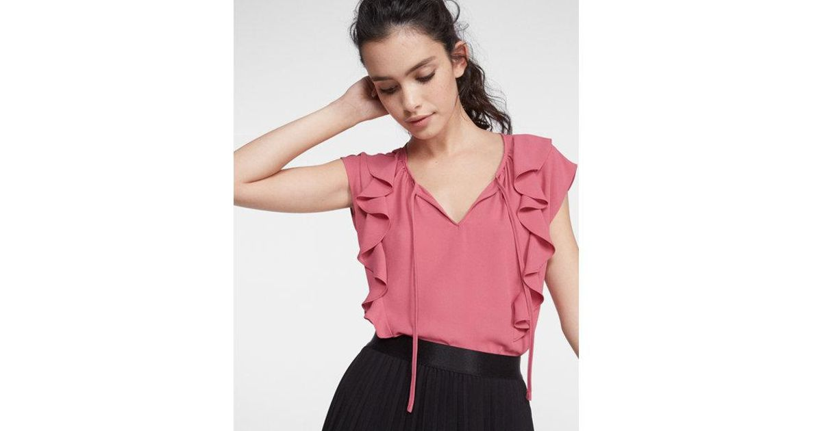 f004501dbd879 Lyst - Express Tie Neck Ruffle Front Cap Sleeve Blouse in Pink
