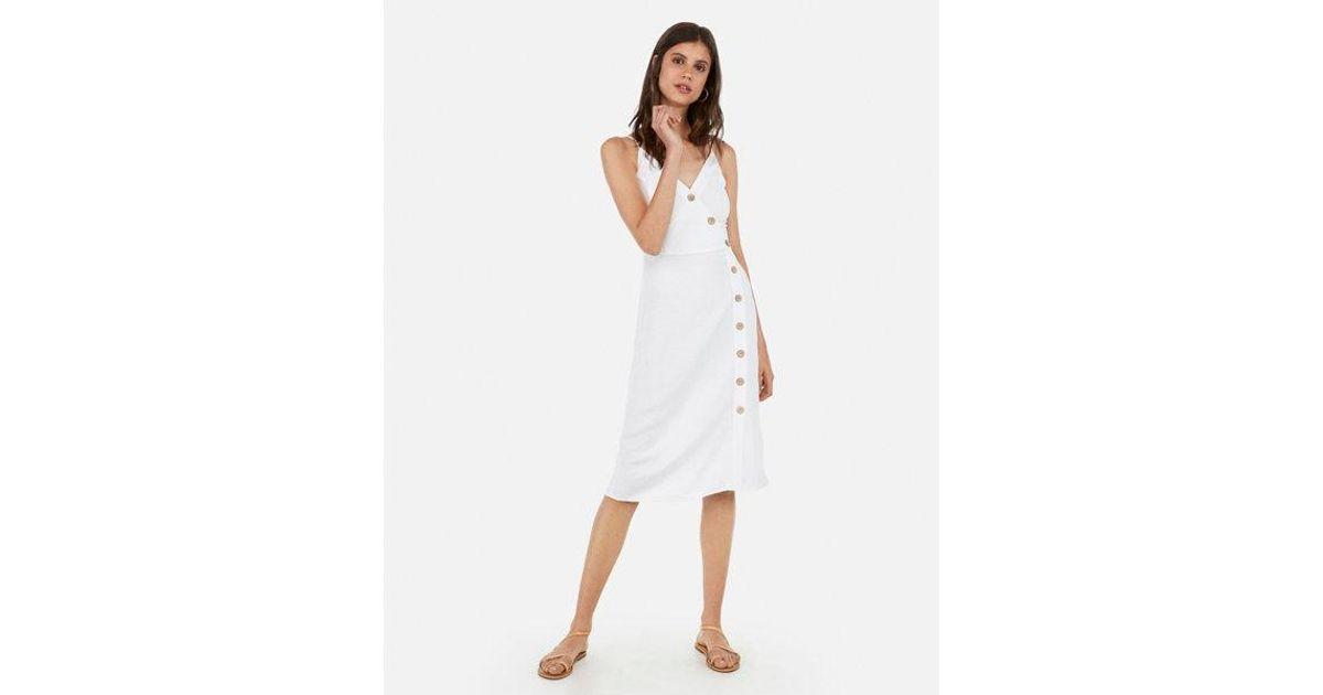 64d03780eb4 Lyst - Express Asymmetrical Button Front Midi Dress in White