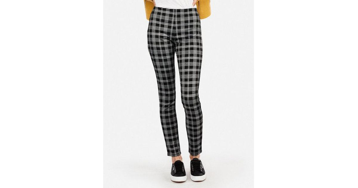 311ac1d5e9e07d Lyst - Express Petite High Waisted Pull-on Plaid Leggings in Black