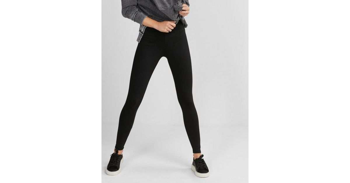 e1d7434dfe Lyst - Express High Waisted Stretch Faux Leather Leggings in Black