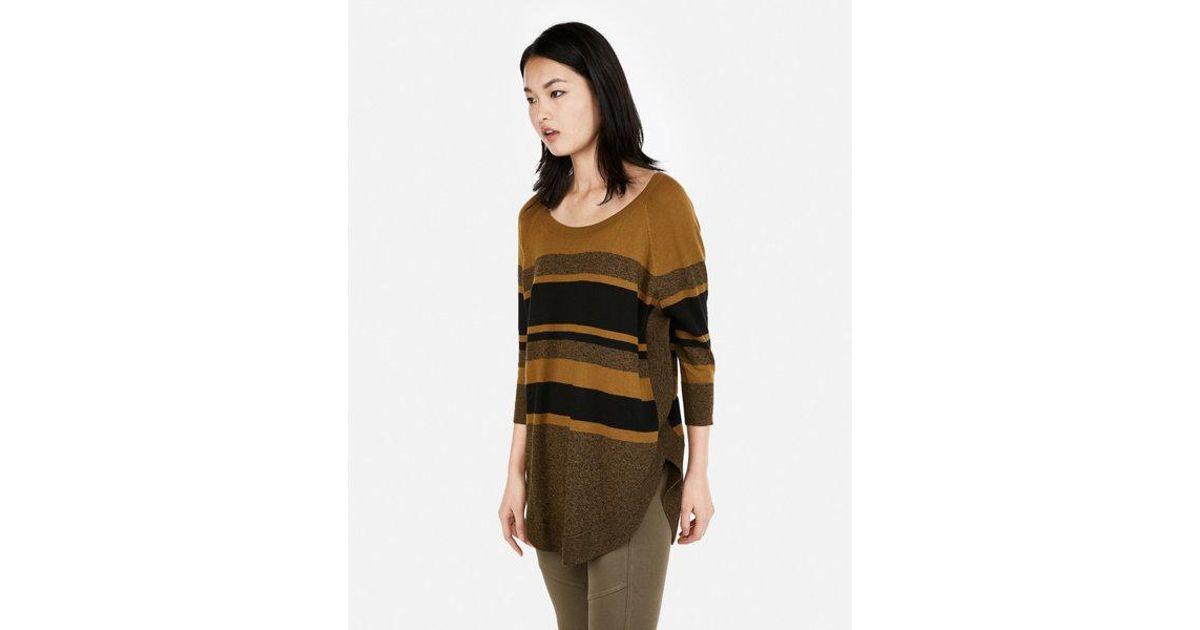 988f84662 Lyst - Express Stripe Extreme Circle Hem Sweater in Green