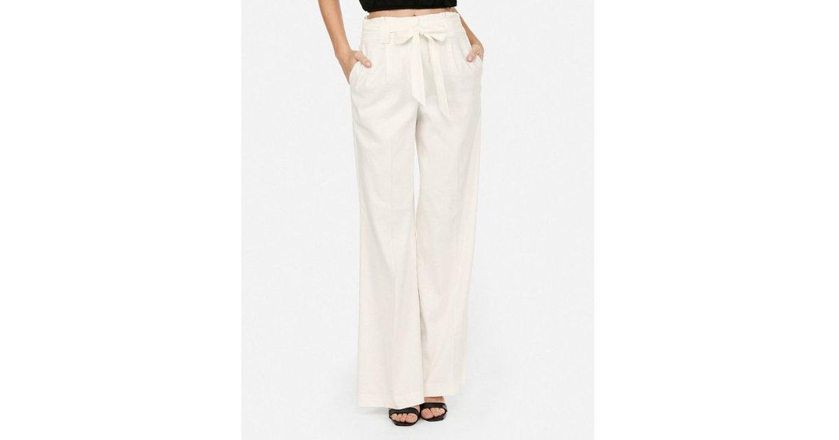 e48ac247b36173 Lyst - Express High Waisted Linen-blend Tie Waist Wide Leg Pant in White