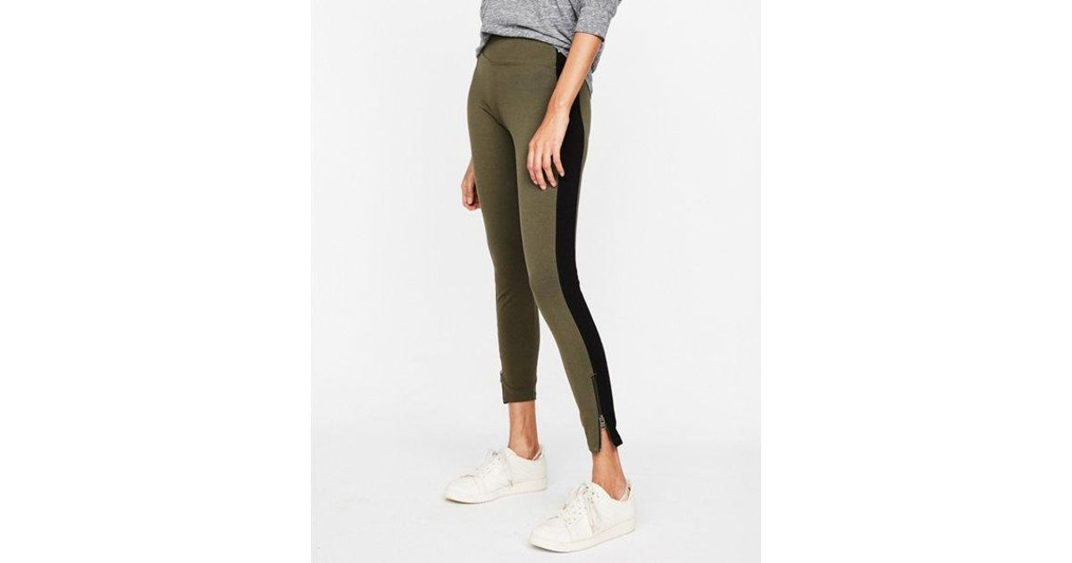 f7555e091c3af Lyst - Express High Waisted Sexy Stretch Striped Zip Leggings in Green