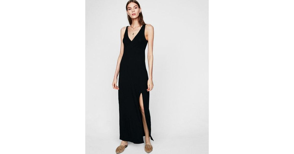 1cf3909c0be Express Empire Waist Surplice Knit Maxi Dress in Black - Lyst