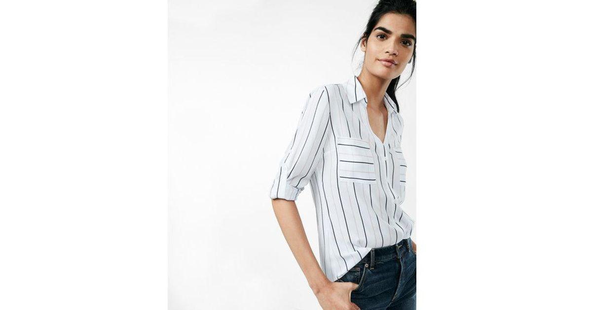 acd1b7b446388 Lyst - Express Petite Slim Fit Stripe Portofino Shirt in White