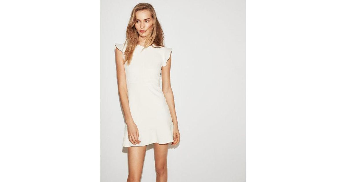a67d64481 Express Petite Ruffle Sleeve Fit And Flare Dress in White - Lyst