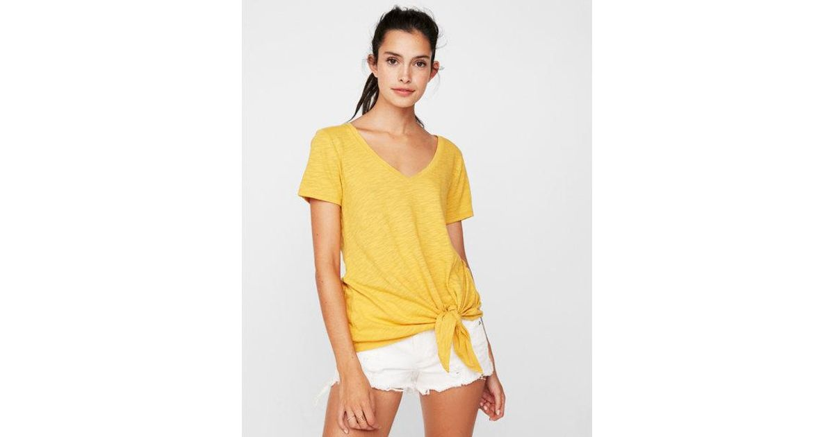 3e06a0ef7 Lyst - Express One Eleven Slub Tie Front V-neck Slim Tee in Yellow