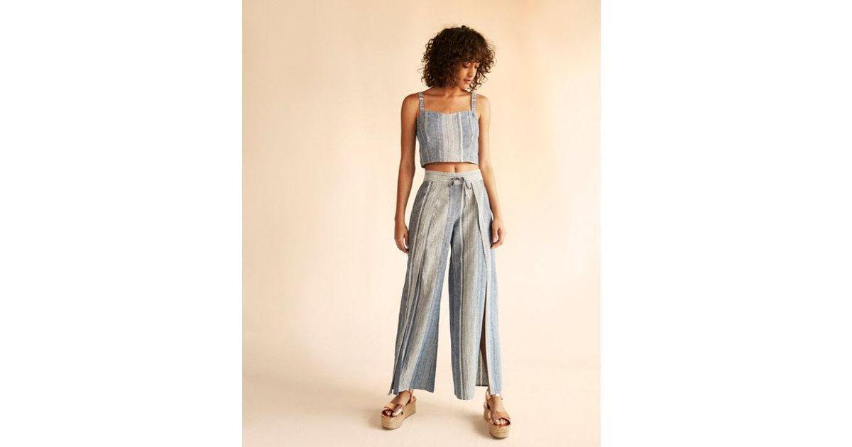 6f5921e7f35ac2 Express High Waisted Split Leg Linen-blend Pant in Blue - Lyst