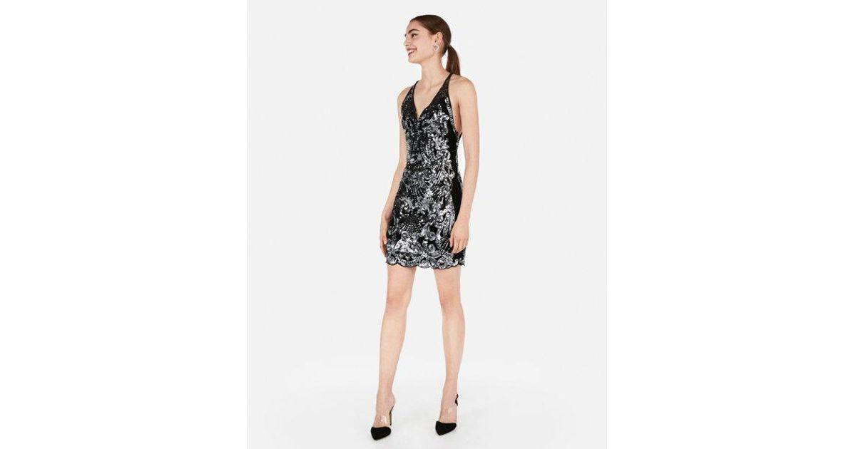23289a2bc988 Express Sequin Velvet Low Back Mini Dress in Black - Lyst