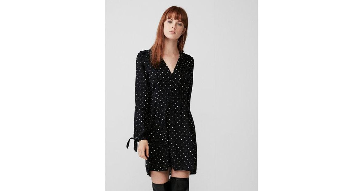 719c883748e20 Express Long Sleeve Button Front Fit And Flare Dress in Black - Lyst