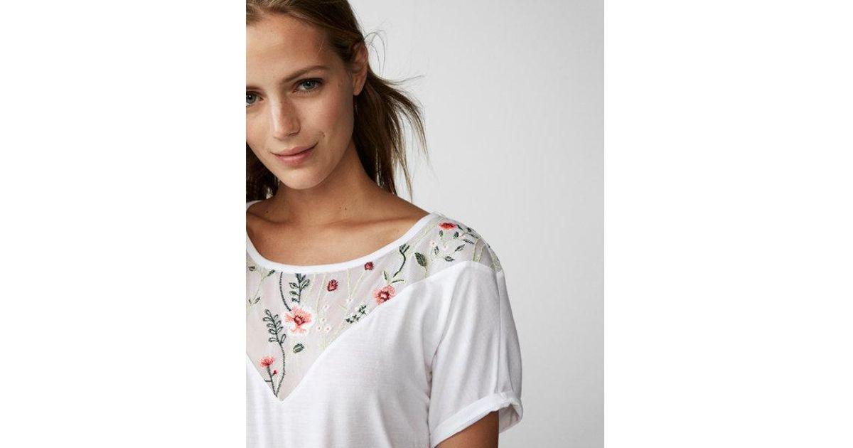 0aa9c64b774 Express Floral Embroidered Mesh Yoke Top in White - Lyst