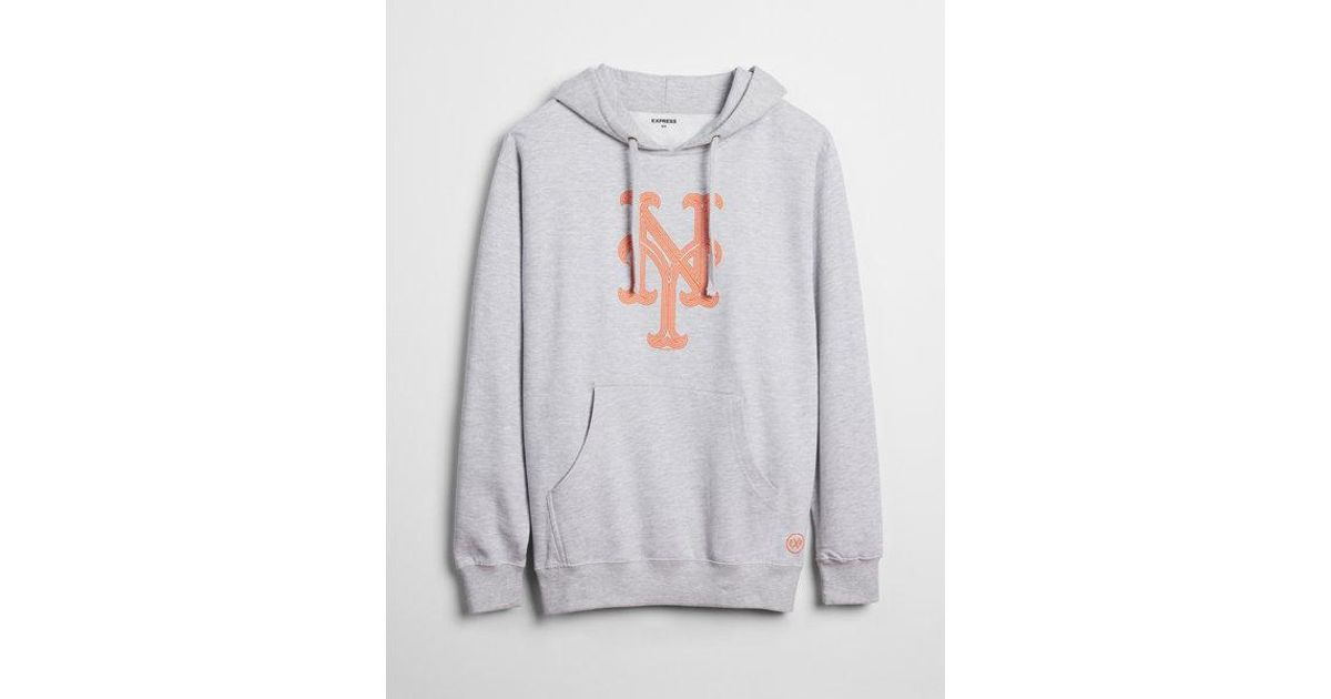 on sale e1845 e2010 Express - Gray New York Mets Graphic Fleece Hoodie for Men - Lyst